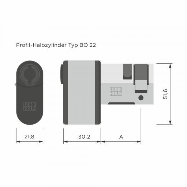 blueCompact Profilhalbzylinder (BO 22)